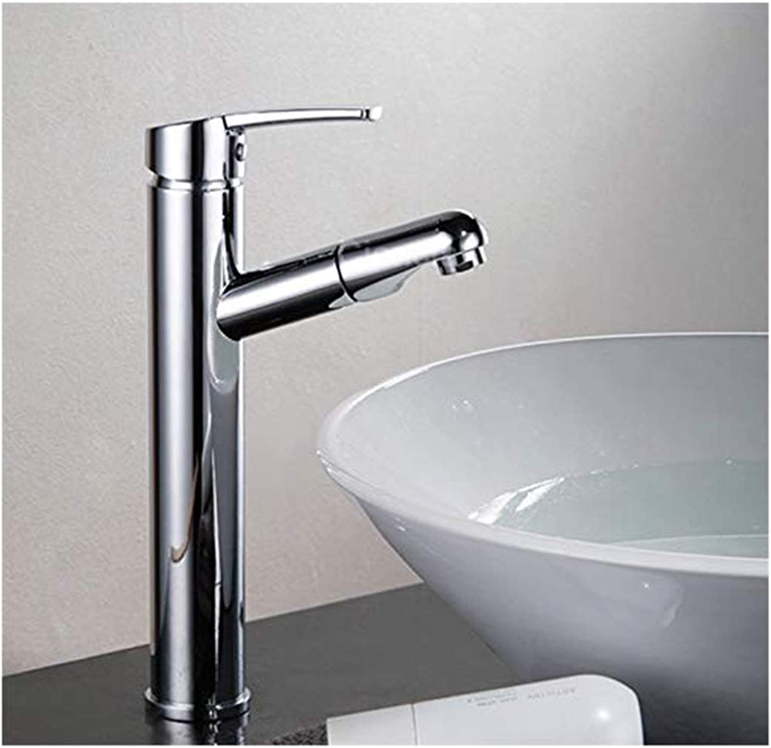 Chrome-Plated Adjustable Temperature-Sensitive Led Faucetpull-Type Hot and Cold Above Counter Basin High Basin