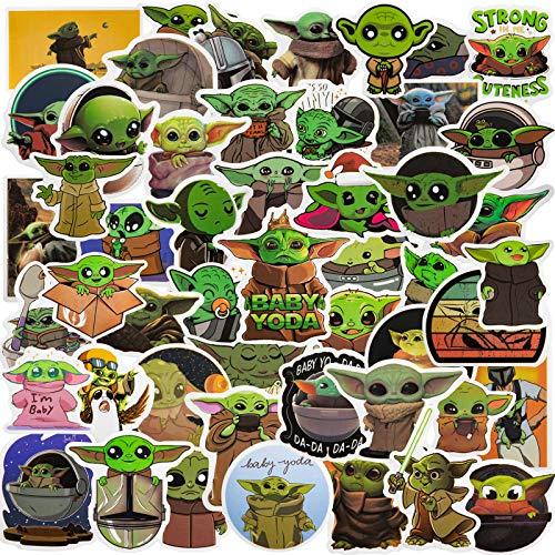 Baby yoda Stickers - 50pcs Yoda Baby Star Wars Cartoon Mix Graffiti Sticker Vinyl Graffiti Decals The Mandalorian Star Wars Decal for Hydro Flask, Laptop, Mug Water Bottles, Car, Motorcycle (Yoda)