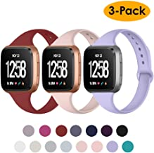 NANW Silicone Bands Compatible with Fitbit Versa/Versa 2 / Versa Lite Edition, Narrow Slim Soft Replacement Wristband Waterproof Accessories Sport Band for Versa Women Men, 3-Pack, Large Small