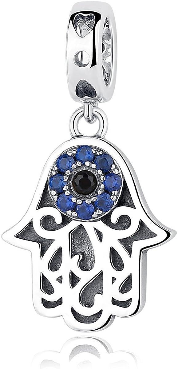 BISAER Evil Eye Bracelet Charm Silver Crystal Blue Max 50% OFF Sterling 925 Detroit Mall