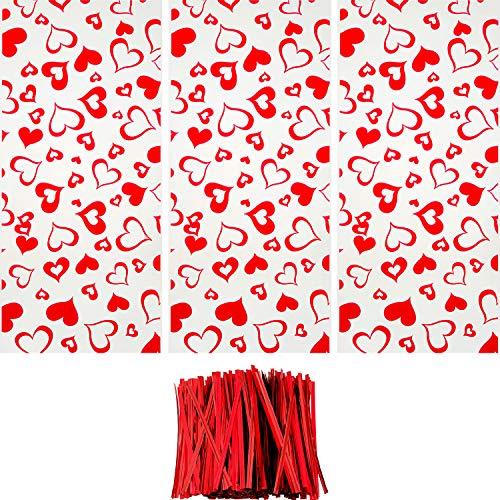 100 Pezzi Sacchetti di Cellophane Halloween Natale Borse Trattare Trasparente Borse Goodies con 150 Pezzi Twist Tie per Fornitura di Festa (Stile 5)