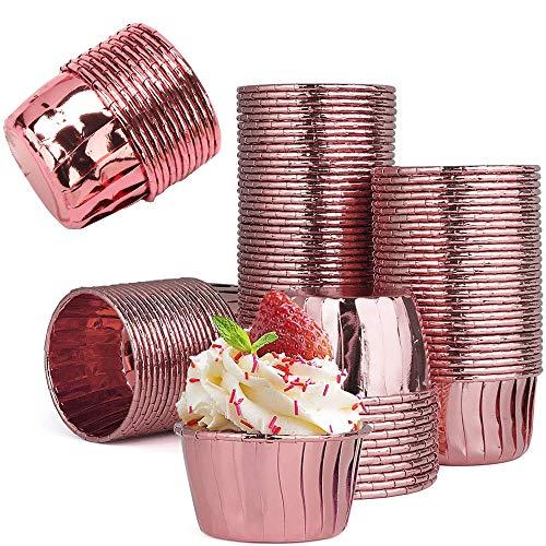 50 Piezas Mini Taza de Pastel para Magdalenas, Taza de Pastel Redonda, Moldes de Papel de Aluminio para Cupcakes, para Bodas de Fiesta, Decoración de Cumpleaños
