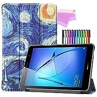 Billionn Huawei MatePad T8(kobe2-L03 / KOB2-L09)タブレット用フォリオ3つ折りスタンドスマートケース[超薄型] [超軽量]、ゴッホの絵画