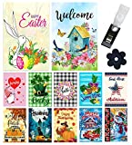 Yileqi Seasonal Garden Flags Set of 12 Double Sided Spring Easter Garden Flag, Small Yard Flag for Holiday Outdoor Decorations 12.5x18 Inch, with Free Anti-Wind Clip and Stopper