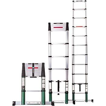 Escalera telescópica VONROC de 3,2 m, con cierre suave y barra transversal segura y resistente: Amazon.es: Bricolaje y herramientas