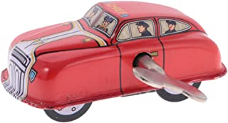 MonkeyJack Wind Up Clockwork Fire Car Model Tin Toy Collectible Gift Home Decor Red