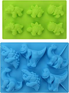 Silicone Dinosaur Molds, Beasea (2 Pack) 3D Cake Mold Perfect for Dinosaur Gummies, Chocolates, Ice Cube Cake Decorations Baking Tools