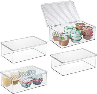 mDesign bac de rangement avec couvercle (lot de 4) – bac alimentaire en plastique pour réfrigérateur – boîte de rangement ...