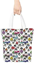 Personalized Pattern Custom Shopping Bag Sea Animals Decor Pattern With Cute Penguins In Colorful Hats And Scarfs Cold Winter Fun (W15.75 x L17.71 Inch)