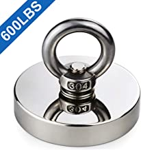 DIYMAG Super Strong Neodymium Fishing Magnets, 600 lbs(272 KG) Pulling Force Rare Earth Magnet with Countersunk Hole Eyebolt Diameter 2.95 inch(75 mm) for Retrieving in River and Magnetic Fishing