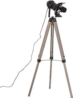 HOMCOM Lampadaire trépied Style Industriel Hauteur réglable H100-140 cm Noir