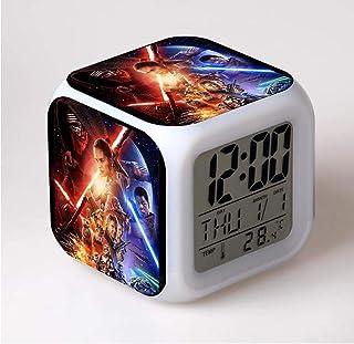 SXWY Reloj Despertador Digital Star Wars, Luces Coloridas Reloj Despertador con Humor Cuarteto Disponible Carga USB Adecuado para Niños Y Niñas Niños,7