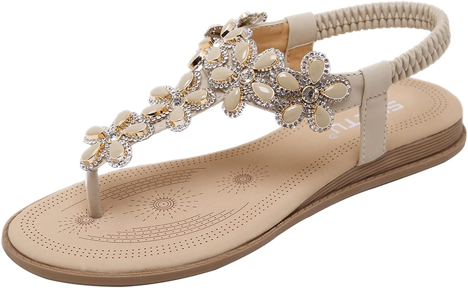 AGOWOO Jeweled Flat Thong Walking Beach Strap Sandals for Women