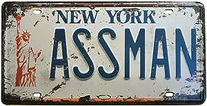 Embossed Vintage Prop Number Tag, Assman, Vanity License Plate, Seinfeld | Cosmo Kramer, 6x12 Inch