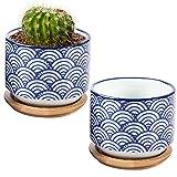 7,6cm vague de style japonais en céramique Pots de fleurs artificielles en bambou avec bac d'égouttement, Lot de 2, Blanc et bleu