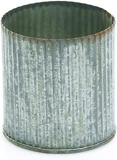 Rustic Tin Vase, Corrugated Sides, 3.25x3.25