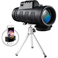 Amooc 40x60 Monocular Phone Telescope with Smartphone Tripod and Mount Adapter for Adults, Birdwatching, Hiking, Wildlife, Concerts