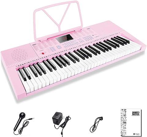 Vangoa Piano Teclado 61 Mini Teclas Portátil Teclado Musical para Principiantes con Micrófono, 3 modos de enseñanza, 350 tonos, 350 ritmos, 30 Demos, ...