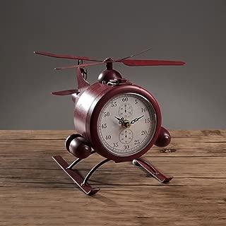 GWM Vintage Retro Hierro Forjado Reloj de Mesa de Aviones Creativo Simple Sala de Estar Gabinete de Vino TV Gabinete Dormitorio Reloj de Escritorio Reloj Personalizado Reloj (Color : Red)