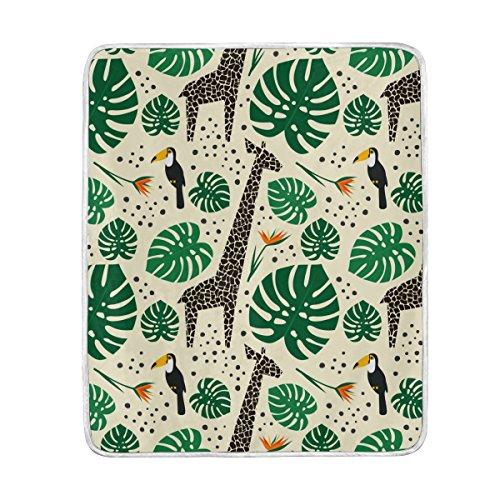 TIZORAX Giraffes Toucans and Palm Leaves Manta suave cálida y acogedora de 50 pulgadas x 60 pulgadas para cama, sofá, picnic, camping, playa