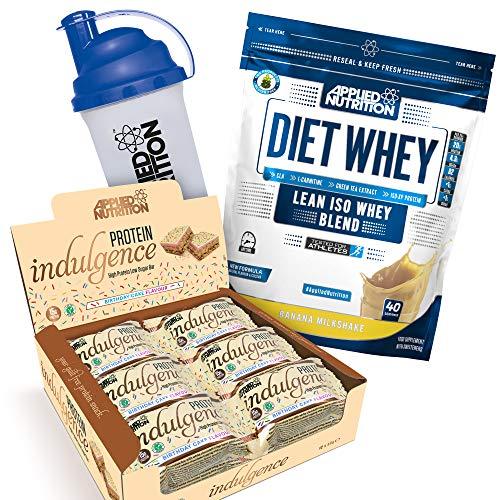 Applied Nutrition Bundle Diet Whey Protein Powder Low Carb & Sugar 1kg + Protein Indulgence High Protein Low Sugar Bar Box 12 x 50g + 700ml Shaker (Diet Whey Banana + Birthday Cake Bars)