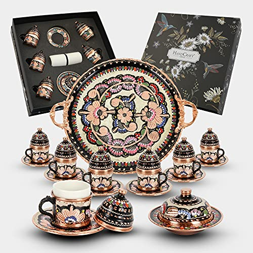 HANDCRAFT IDEAS - 27 Pieces Turkish Coffee Espresso Set - Handmade Copper Turkish Coffee Cups for Six 6 with Tray - Perfect Gift - Coffee Table Decor - Premium Copper Construction - (CS6-118)