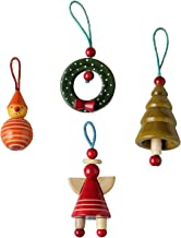 STORE INDYA Ornament Tree Hanging Decorative Stocking Bag Embroidered Beads for Seasonal Decor Large (Design 5)