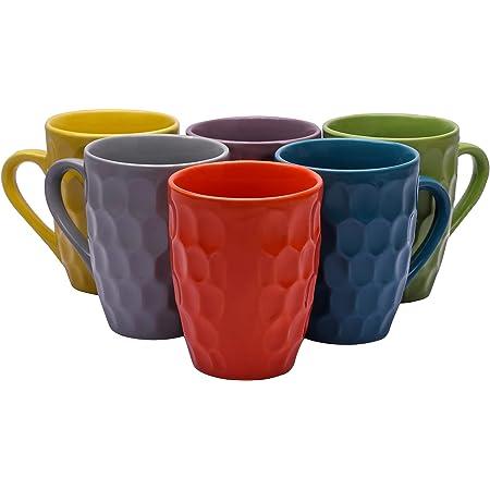Sampla Draco Series Ceramic Coffee Mugs - 6 Pieces, Crystal Multi Colour, 250 ML (Random Colour)