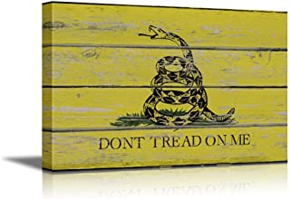 wall26 - Canvas Prints Wall Art - Gadsden Flag/Don't Tread on Me Flag on Vintage Wood Board Background Stretched Canvas Wrap. Ready to Hang - 16