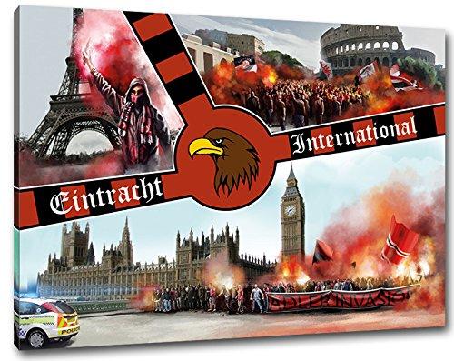 Ultras-Art Frankfurt International, Bild auf Leinwand XL, fertig gerahmt, 80 x 60 cm