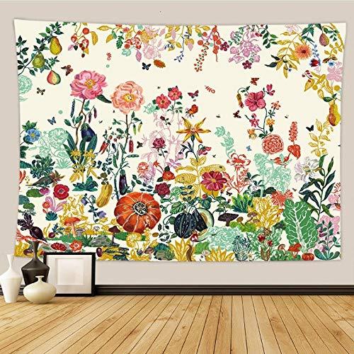 shuimanjinshan Floral ins Viento Tapiz pequeño Fresco decoración del hogar Fondo Tela Colgante de Pared Dormitorio Tela Colgante de cabecera 130(H) X150(An) Cm