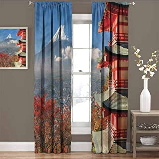GUUVOR Fuji Mountain View Blackout Curtain Japanese History 2 Panel Sets W72 x L84 Inch