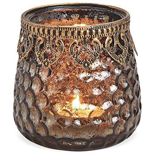 matches21 Windlicht Teelichtglas Kerzenglas Orient Design Waben braun-antik aus Glas & Metallrand Ø 9x9 cm - 3 Größen