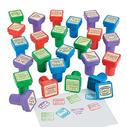 Passport Stampers - 24 Pieces - Educational And Learning Activities For Kids