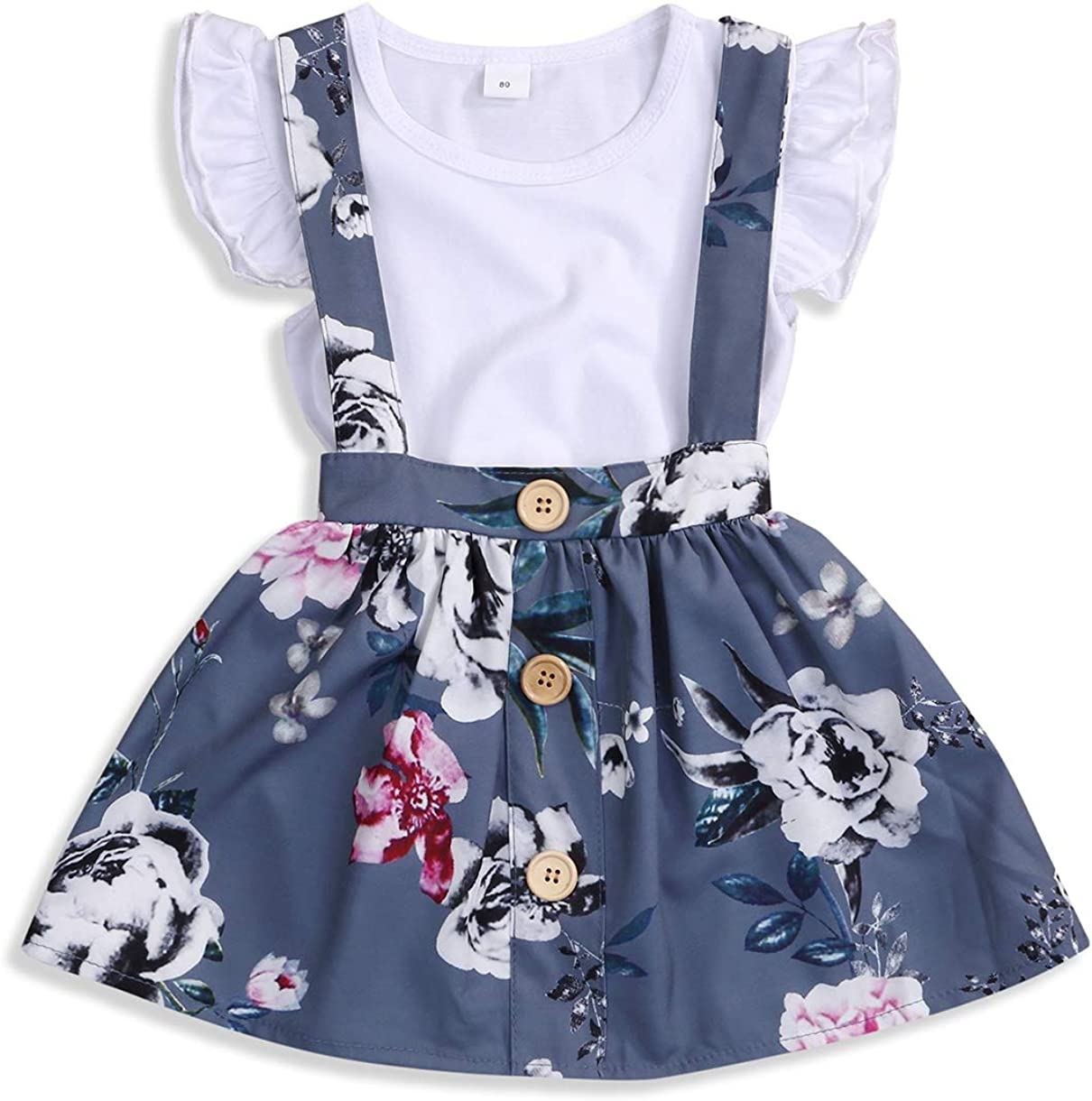 Baby Girls Skirts Set Ruffle Romper +Floral Overall Dress Button Strap Tutu Skirts Birthday Suspender Outfits: Clothing, Shoes & Jewelry