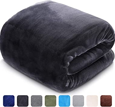 LEISURE TOWN Fleece Blanket Queen Size Fuzzy Soft Plush Blanket 330GSM for All Season Spring Summer Autumn Throws for Couch Bed Sofa, 90 by 90 Inches, Dark Grey