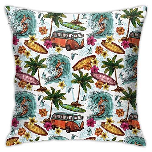 MZZhuBao Hawaiian Surf Ropa de cama de 45,7 x 45,7 cm, almohadas decorativas para interiores