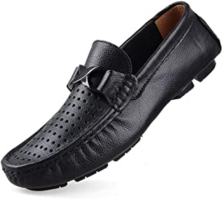SYktcjgs Fashion Leisure Driving Loafers for Men Casual Penny Shoes Slip On Metal Buckle Round Toe Stitch Genuine Leather Perforated Lightweight (Color : Perforated Black, Size : 50 EU)