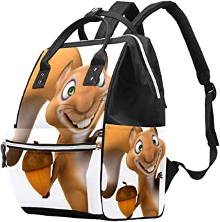 Multifunctionele grote baby luiertas rugzak, leuke eekhoorn luiertas reizen rugzak voor mama en papa