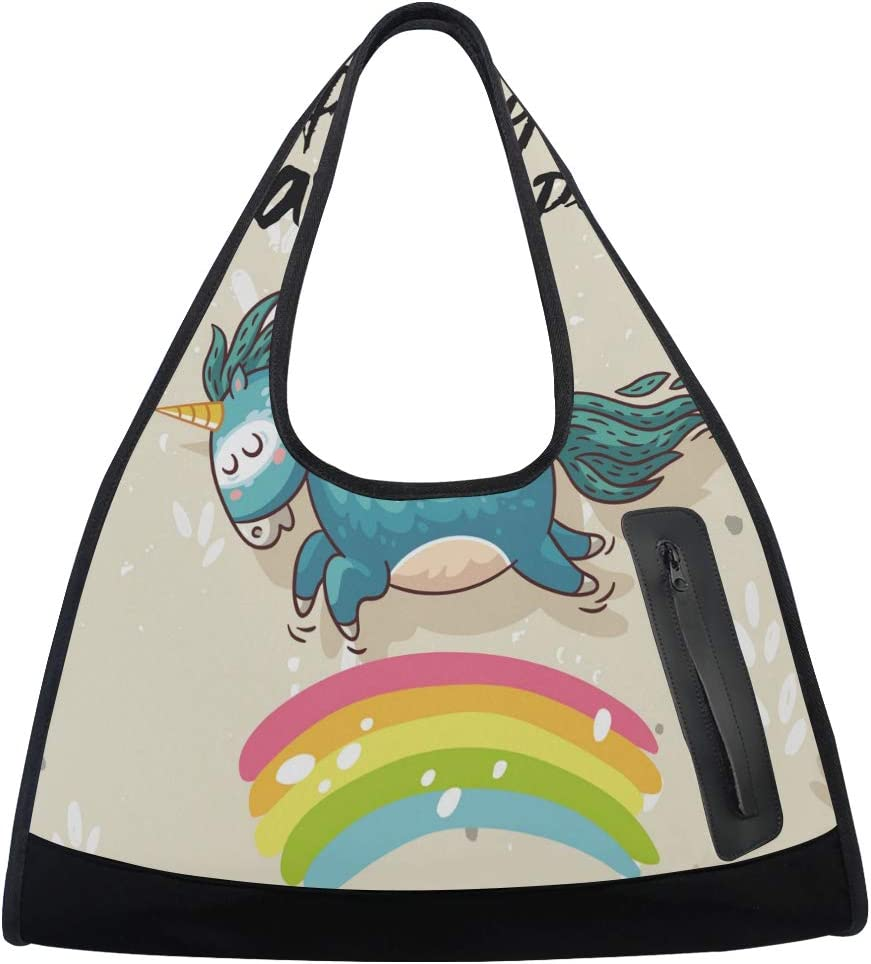 Cute Hand-Painted Unicorn Women Sports Multi-Funct Gym Totes Bag Inventory cleanup Financial sales sale selling sale