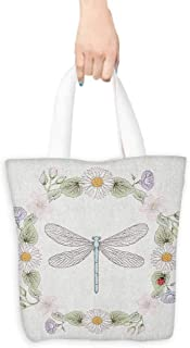 Tote bag Dragonfly Vintage Retro Farm Life Inspired Moth with Daisies Lilies Leaves Image Coin cash wallet 16.5