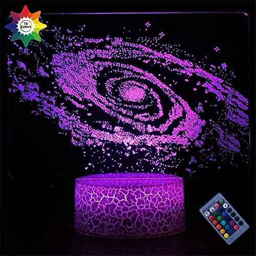 Luz nocturna para niños 3D Planet Lámpara de ilusión óptica 16 colores regulable USB Powered Control táctil con base de grieta+mando a distancia para niños niñas niños regalos