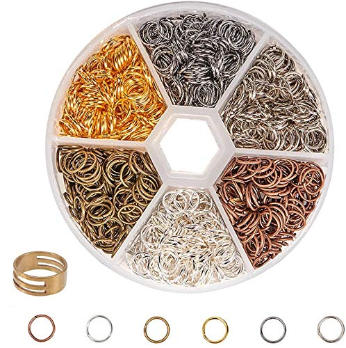 FLZONE 6 Colors Mixed Open Rings Open Jump Ring for Connecting Necklaces,DIY Jewelry Making-8MM