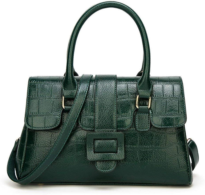 Ladies Handbag New, Women's, Handbag, Fashion, One-Shoulder, Crossbody, Boston Bag, Europe and America, Crocodile Pattern, Handbag (color   Green, Size   34  14  22cm)