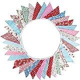 G2PLUS Süße Beidseitig Wimpel Girlande, 10M Bunting Wimpelkette Rot & Blau Stoff Stoffgirlande mit 36 STK Farbenfroh Wimpeln für Hochzeits Geburtstag Party