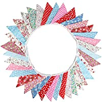 G2PLUS Large Cotton Fabric Bunting Banner 32.8 Feet Double Sided Triangle Flag Garland 36PCS Floral Pennants, Vintage…