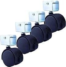 4 stks Meubilair Casters Caster, Rubber Meubel Caster, Swivel Stem-wielen met remmen, met U Shape Splint, 360 graden roter...