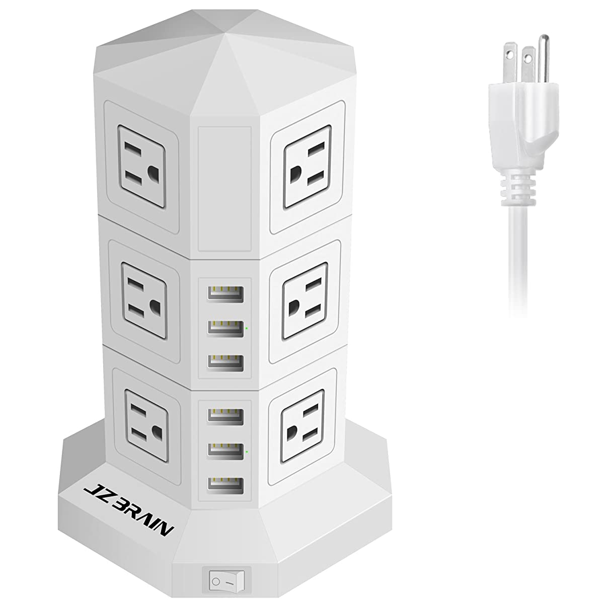 JZBRAIN Tower Surge Protector Charging Station 12-Outlet 6-USB with 9.8ft Extension Cord (White)