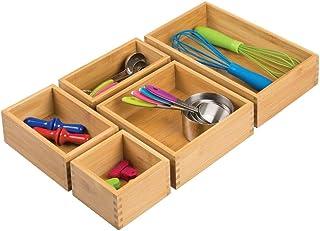 mDesign bac de Rangement pour Cuisine (Set de 5) – Rangement tiroir en Bambou, Tailles variées – Rangement Cuisine empilab...