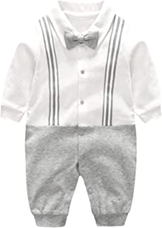 Infant Newborn Baby Boys Gentleman Clothes Cotton Rompers Small Suit Bodysuit Outfit with Bow Tie
